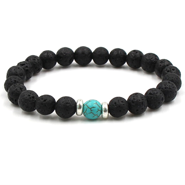 Essential Oil Perfume Diffuser 8mm Black Lava Stone Beads Bracelet Turquoise Beads Bracelet Stretch Yoga <strong>Jewelry</strong> (KB8047)