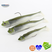 Boat fishing lure with jig head--wired worm hook soft shad soft lure soft bait