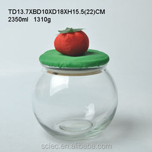 Beautiful style round glass candy jar with strawberry shaped lid