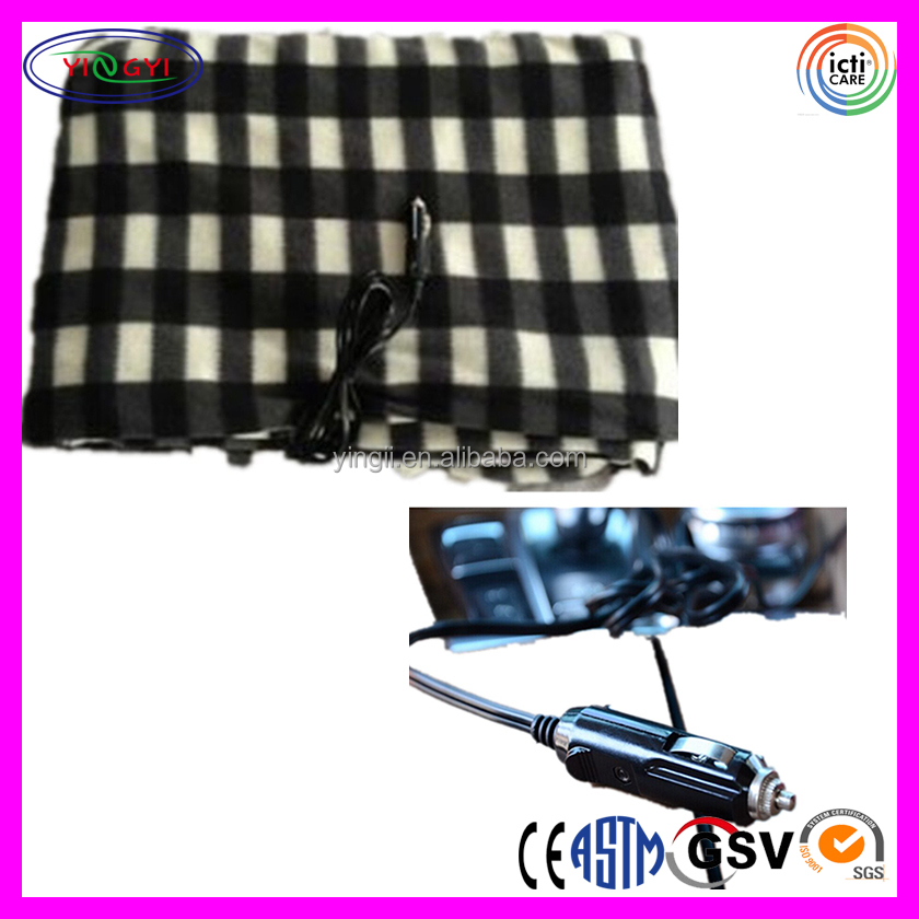 B372 Heated Fleece Travel Electric Blanket 12 Volt Plaid Automobile Thermal 12V Blanket for Car
