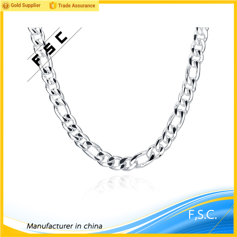 FSC fashion jewelry man chains necklace with silver plated