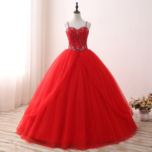 red sleeveless beaded quinceanera dresses prom gown floor length puffy prom dress