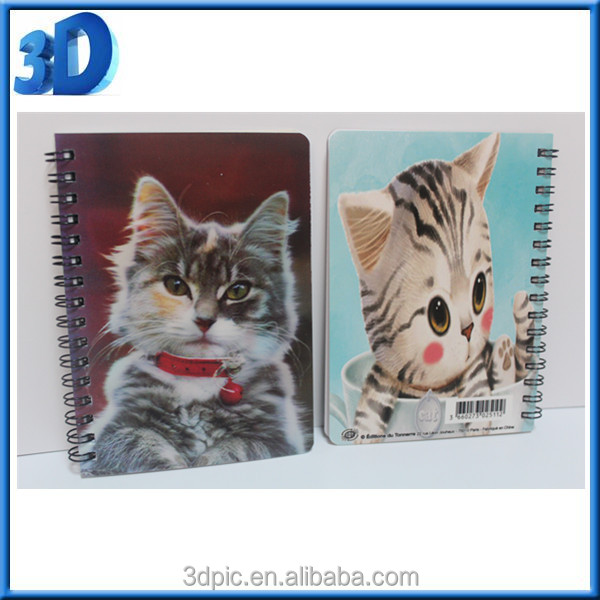 2016 custom lenticular cover 3d notebook for promotion