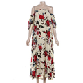 Wholesale Price Off the Shoulder Long Women Floral Dress