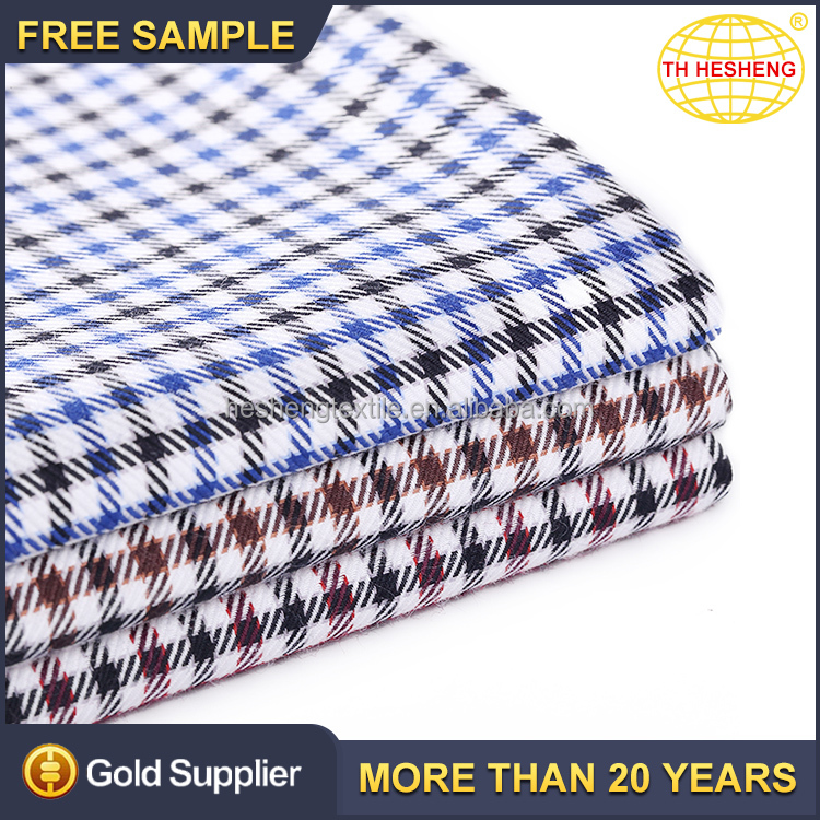 Wholesale stock 100% cotton clothing woven fabric high quality custom plaid shirting fabric