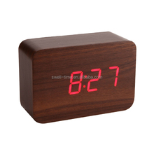 Best selling LED wooden clock with sound controlled
