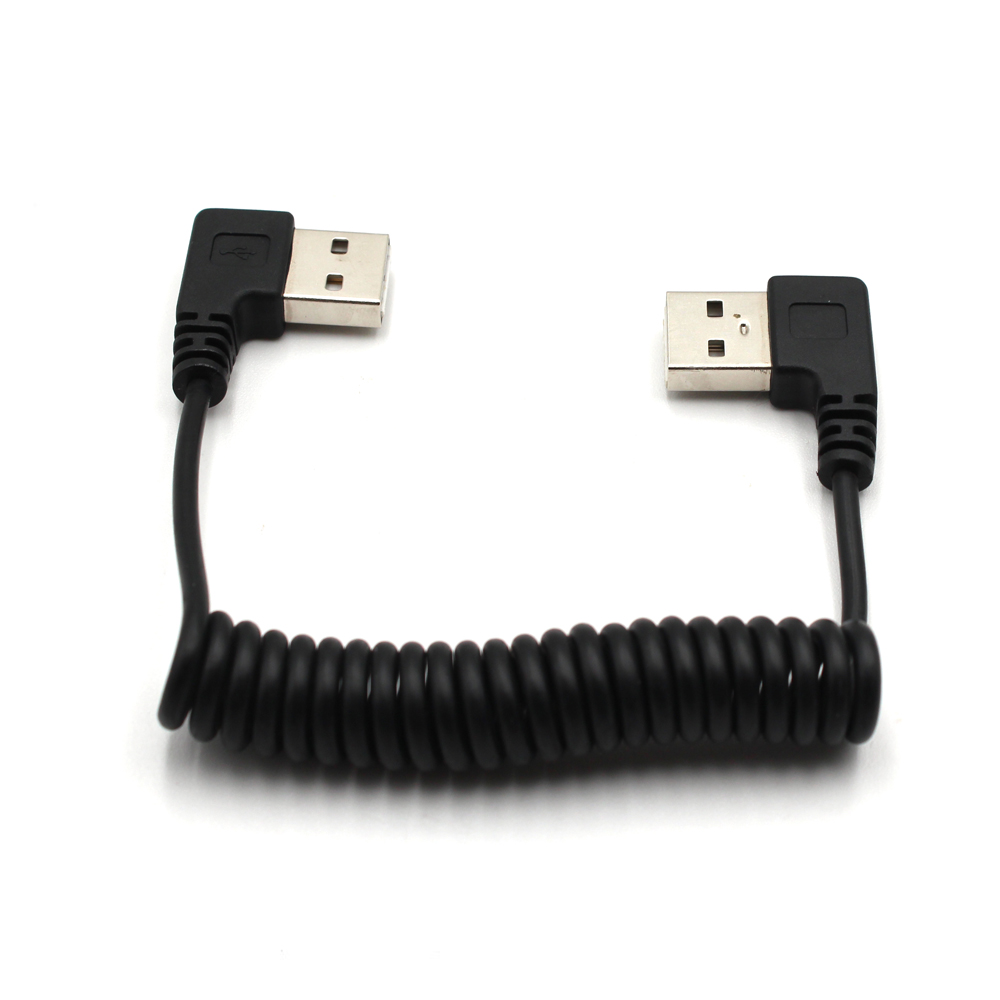 USB 2.0 PVC Right Angle Coiled USB A to USB A Male Plug Charging Cable