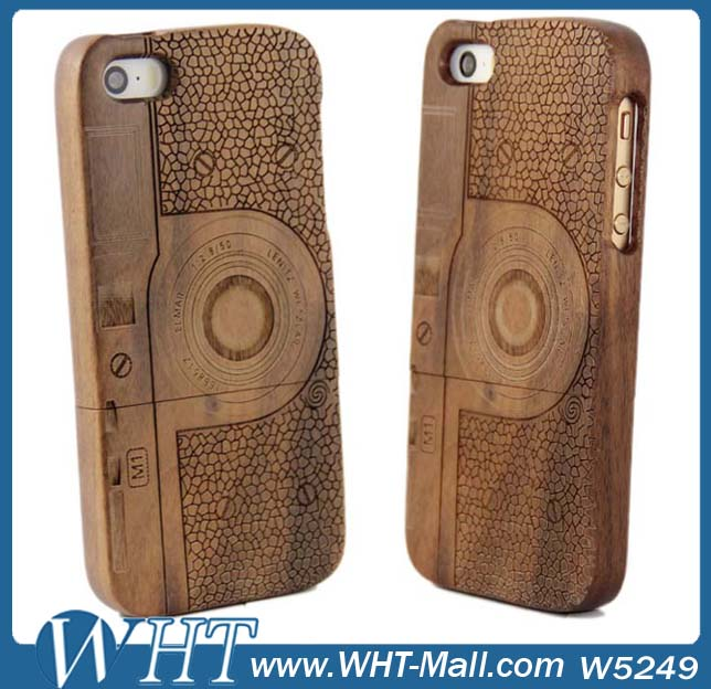For Apple iPhone 5/ 5G/ 5S Solid Wood Sets Wooden Hard Case Camera Design