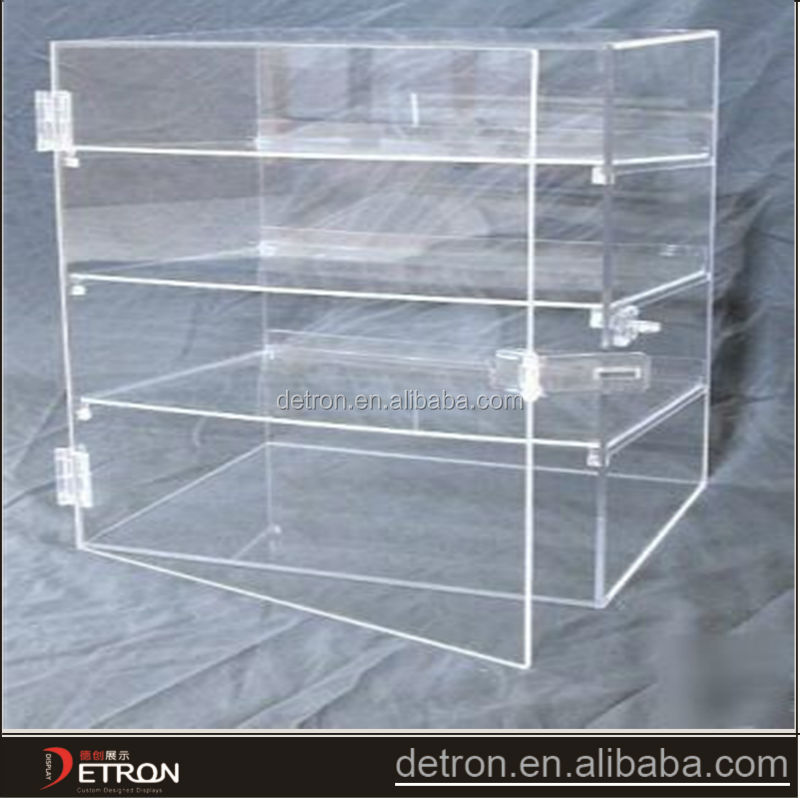 clear counter top lockable acrylic display case