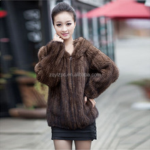 Women real fur jackets natural brown knitted fur mink coat