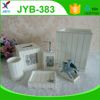 6pcs square white seaside style bathroom set blue seashell decoration bathroom accessories