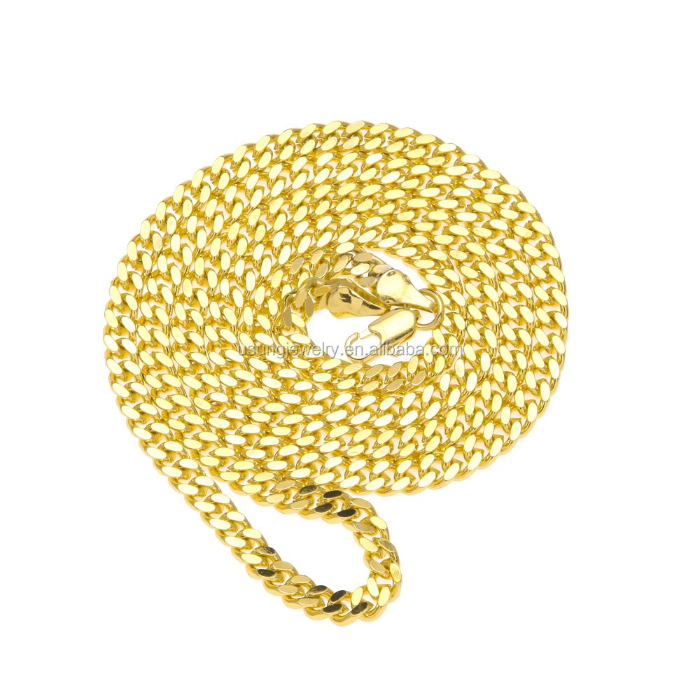 18k gold plated 3mm stainless steel cuban link chain