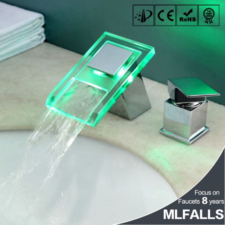 Single handle two hole deck mount waterfall glass spout chrome basin sink faucet 3 color changing led light