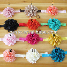 CF0790 top baby head-wear fancy eyelet ruffled fabric flower cotton baby headband wholesale