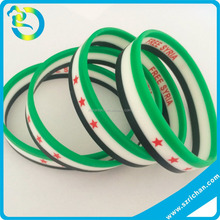Wholesale Country Flag Layer Tricolors Free Syria Silicone Rubber Bracelet