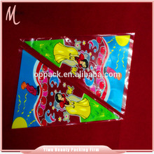 Yiwu custom printing clear transparent definition sugar packaging bag.triangle plastic bag
