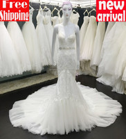 Made in China Stunning Lace Appliqued Tow Straps Deep V-Neck Sleer Open Low Back Chapel Train Lace Mermaid Wedding Dress 2015