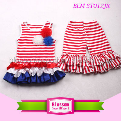 New born baby stripe tops of July 4th outfit baby clothes set cute import and export agent summer clothing toddlers suits