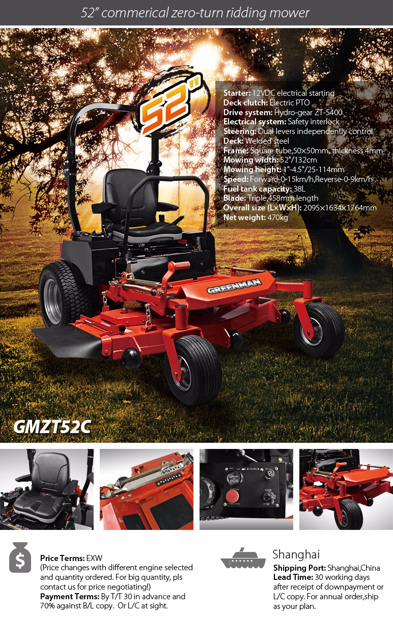 "52"" welded deck commercial ride on zero turn mower with B&S engine triple blade"