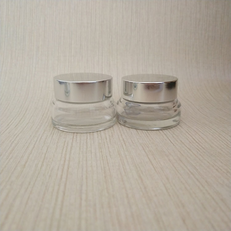 5ml 10ml 20ml 50ml Cosmetic Clear Glass Empty Cream Jar with screw cover lid Y20