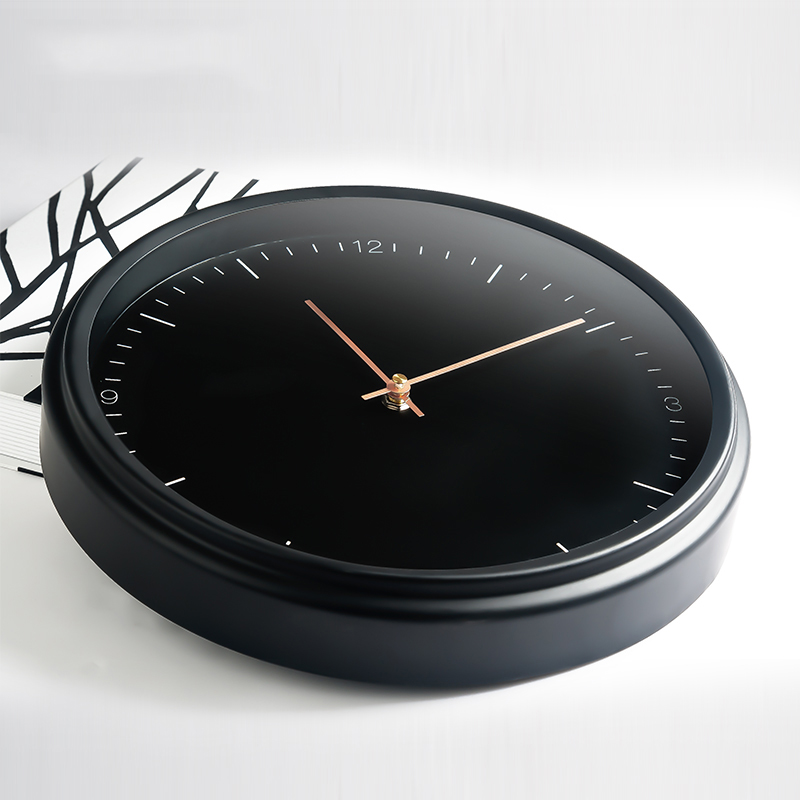 Metal Black Wall Clock Modern 16 Inches No-Ticking Quartz Movement Large Simple Clock Decorative for Home Bathroom Kitchen