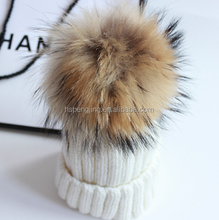 2015 New Fur Pompons For Knitting Woolen Hats /raccoon fur pompom for hats knitted winter cap/ raccoon fur pompons