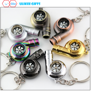 Real Whistle Sound Turbo Keychain Spinning Turbine Key Chain Ring Keyring Keyfob