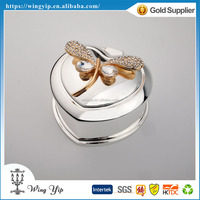Custom made good quality Heart Shape with Butterfly Silver Plated Metal Jewelry display box for decoration