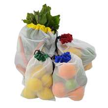 See through colorful strip polyester nylon mesh produce bag with drawstring for gift