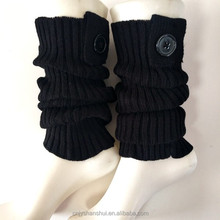 Leg warmer boot cuffs with trim top and 1 buttons