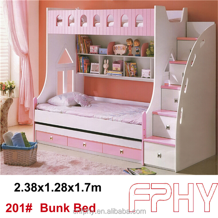 2015 Hot selling FPHY Modern Children Bedroom furniture MDF Wooden Kids Bunk <strong>Bed</strong>