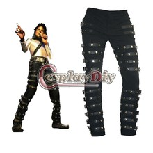 Michael Jackson Punk Classic Rivet BAD Concert Black Metal Rock Pants Trousers Custom Made
