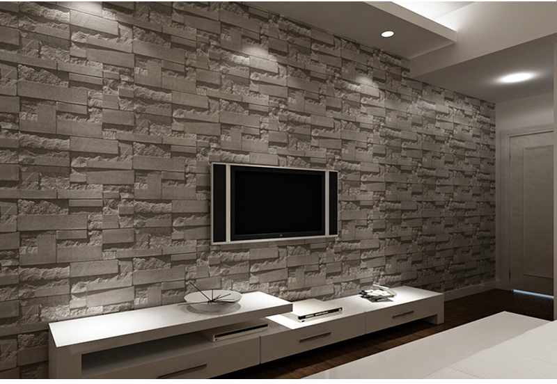 Slate Stone Brick Vinyl Wallpaper Roll PVC Wall Paper Black,Grey
