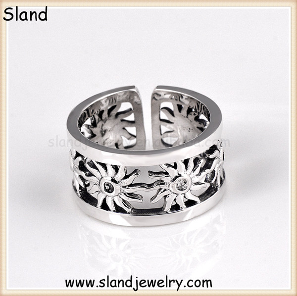 newest western fashion 925 sterling silver jewelry wholelsale silver sun ring for men with antique finished