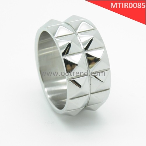 Punk men High polishing silver color tone spikes stainless steel finger ring jewelry