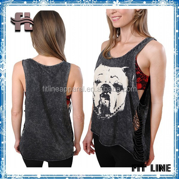 women's open side bandage tank top ,deep armhole cut out demin custom vest