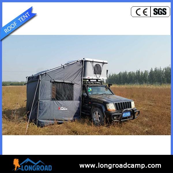 Outdoor car camping hard shell roof top tent with fiberglass