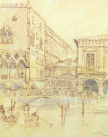 Classical hand drawing pictures of venice buildings on canvas with simple design