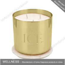 100% Natural Soy Wax three wick scented candle in Metal Jar