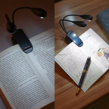 Gooseneck Dual Head Clip Book Light 4 LED Bed Reading Light Can be used as LED torch light