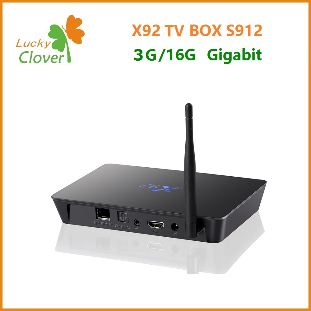 Hot!!! Amlgoic S912 tv box Octa core 3GB RAM 16GB ROM X92 Smart Set Top Box Android marshmallow 6.0 TV box