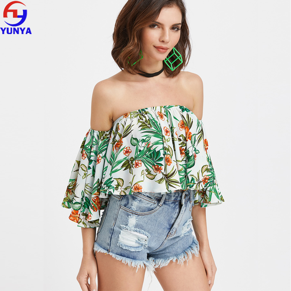 ff60f2d5e96 Top selling products in alibaba lady ruffle off shoulder bardot bell sleeve  floral print woman crop top