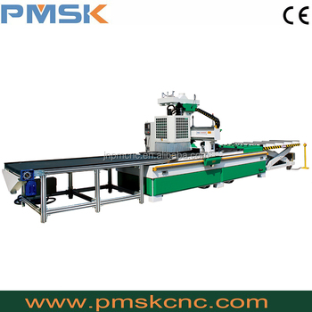 Wood plate-type furniture cnc machine line with auto loading and unloading system