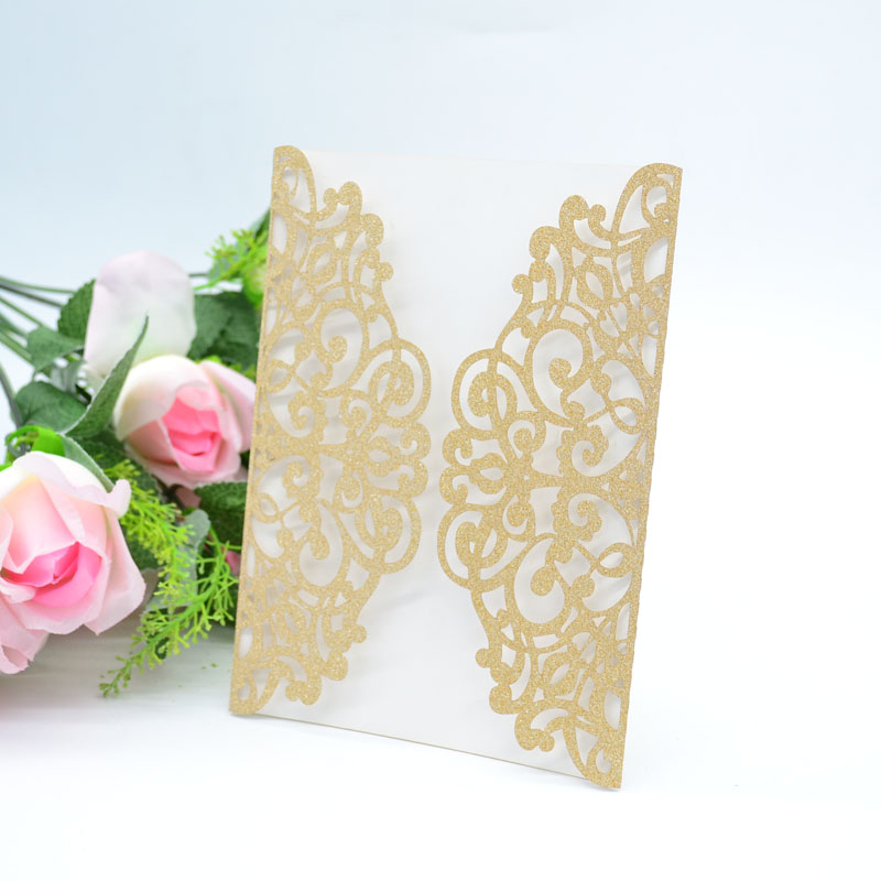 Rose Gold glitter MR049 laser cut lace invitations card for wedding