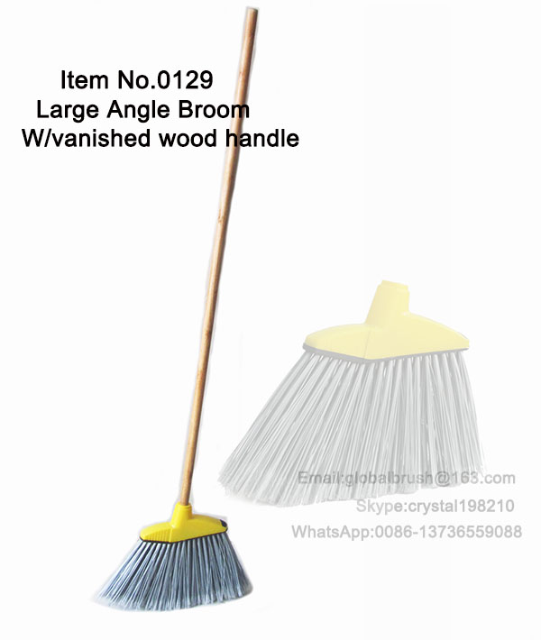 ITEM NO.0129 vanished wood handle yellow large angle broom