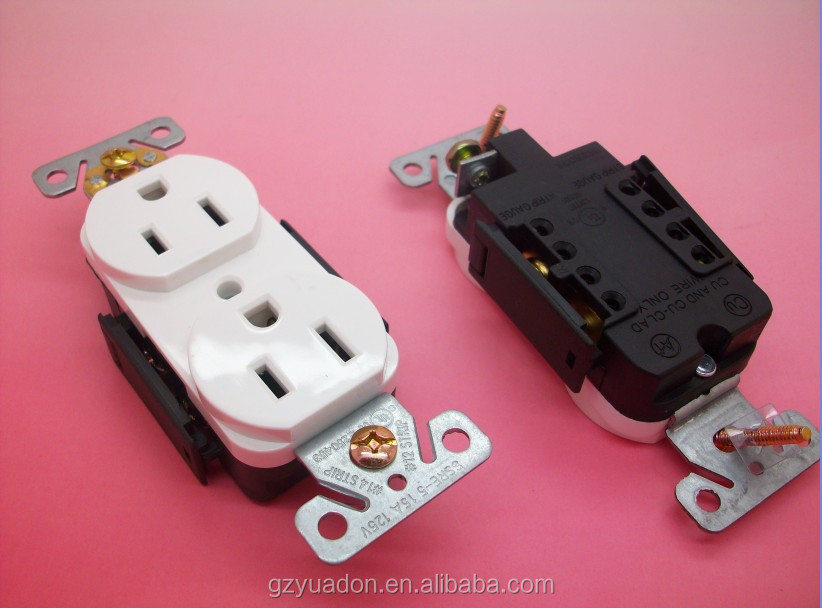 Nema5-15R 15A 125V duplex outlet Electrical socket/nema 5-15r receptacle