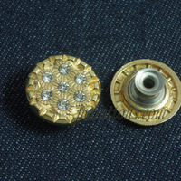 Large Golden Fancy Rhinestone Buttons For