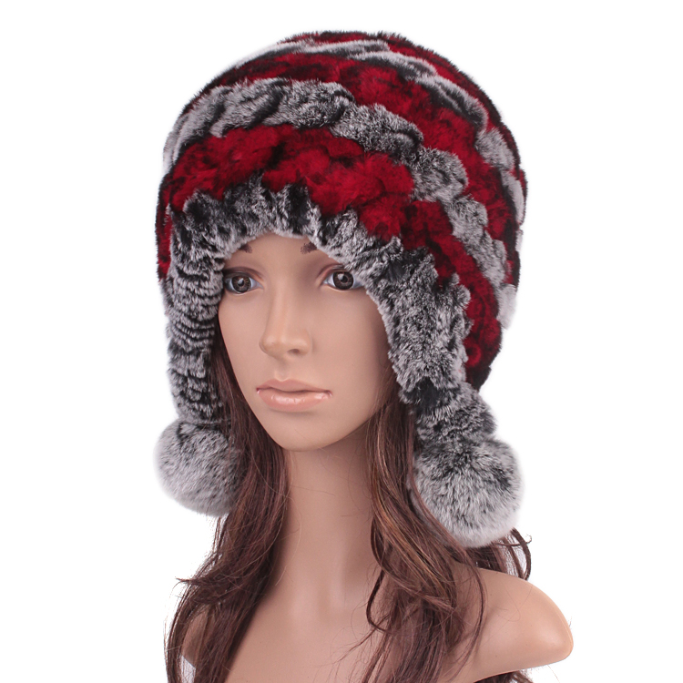 2015 warm winter fashion Rex Fur Hat Wool Knitting fur really thickened ear three ball rabbit hair hat