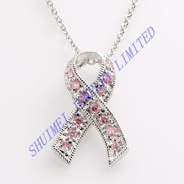 SHUIMEI Paved Crystal Breast Cancer Awareness Ribbon Charm Statement Pendant Gem Chunker Choker Chain Necklace Fashion Jewelry