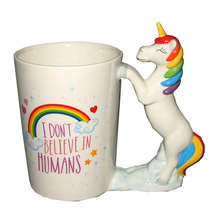 Cute Quirky Rainbow Clouds Unicorn Mug I Dont Believe In Humans Coffee Cup Magical Flying Horse Tea Cup